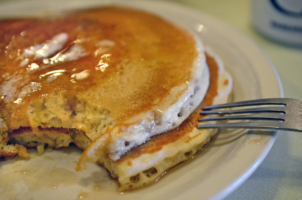 . A pair of fluffy pancakes slathered with butter and maple syrup are a sweet morning treat at the Wagon Wheel Cafe. (Pioneer Press: C.J. Sinner)