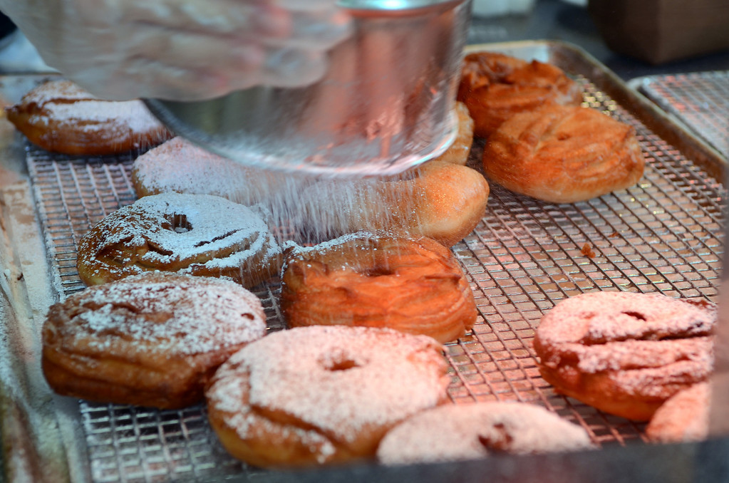 . Dough-sants, $4 each, are sprinkled with powdered sugar at French Meadow Bakery, on Carnes between Underwood and Nelson. (Pioneer Press: C.J. Sinner)