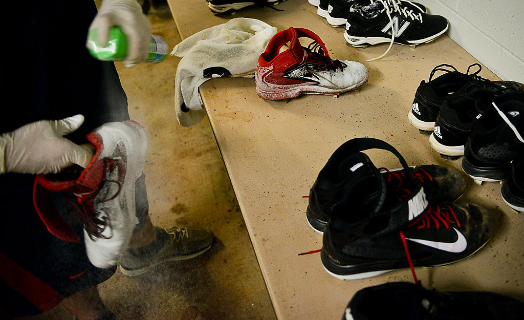 . Cleats and running shoes are cleaned every day by clubhouse attendants after practice. (Pioneer Press: Ben Garvin)