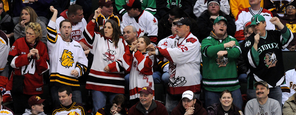 . Hockey fans dance to the Gangnam Style song during a third period timeout at  the WCHA Final Five semifinal game of Colorado College and Minnesota at the Xcel Energy Center Arena on Friday, March 22, 2013. (Pioneer Press: Sherri LaRose-Chiglo)