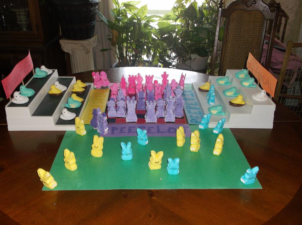 ". \""60th Annual Medieval peeps chess tournament,\"" by Victoria Biela, West Monroe, N.Y."
