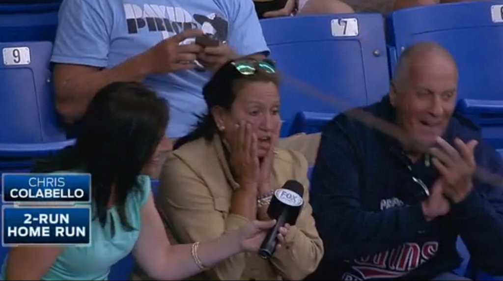 ". <p>4. CHRIS COLABELLO�S MOTHER <p>Never would have gotten a birthday home run if she were Joe Mauer�s mom. (unranked) <p><b><a href=\'http://msn.foxsports.com/north/story/twins-colabello-enjoys-unbelievably-timed-home-run-042314\' target=""_blank\""> LINK </a></b> <p>   (Screen grab from MLB.com)"
