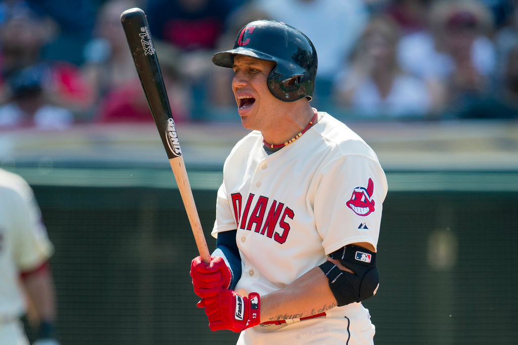 . Indians batter Asdrubal Cabrera reacts after going down swinging against Twins reliever Caleb Thielbar during the seventh inning, leaving two runners on base. (Photo by Jason Miller/Getty Images)