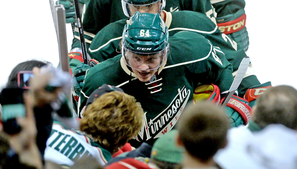 . Minnesota\'s Mikael Granlund leaves the ice after scoring the winning goal to give the Wild a 1-0 win over Colorado in Game 3. (Pioneer Press: Sherri LaRose-Chiglo)