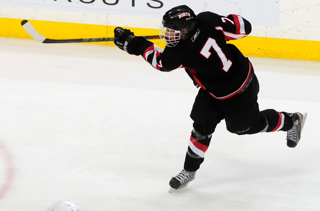 . Lakeville North\'s Nick Poehling scored on this first-period power play slap shot against Edina.  (Pioneer Press: Scott Takushi)