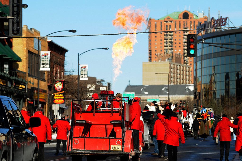 . The Vulcans drive down West Seventh Street during the Winter Carnival Grande Day Parade in St. Paul, Saturday January 25, 2014.  (Pioneer Press: Jean Pieri)