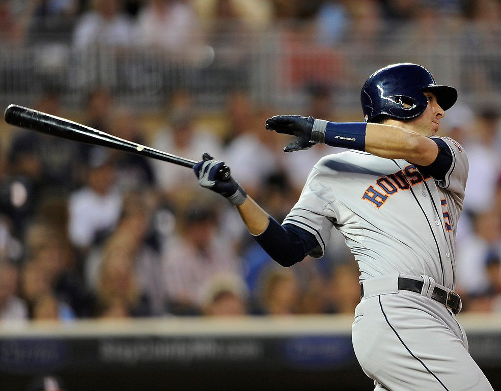 . Jason Castro #15 of the Houston Astros hits a two-run single against the Minnesota Twins during the fifth inning.  (Photo by Hannah Foslien/Getty Images)