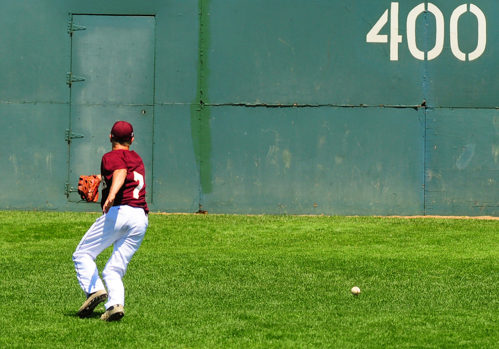 . A two-base fielding error by Forest Lake center fielder Kyle Parker in the fourth inning allowed Mounds View\'s Max Knutson to reach third base on his single. The Mustangs scored their first run of the game later in the inning. (Pioneer Press: Scott Takushi)