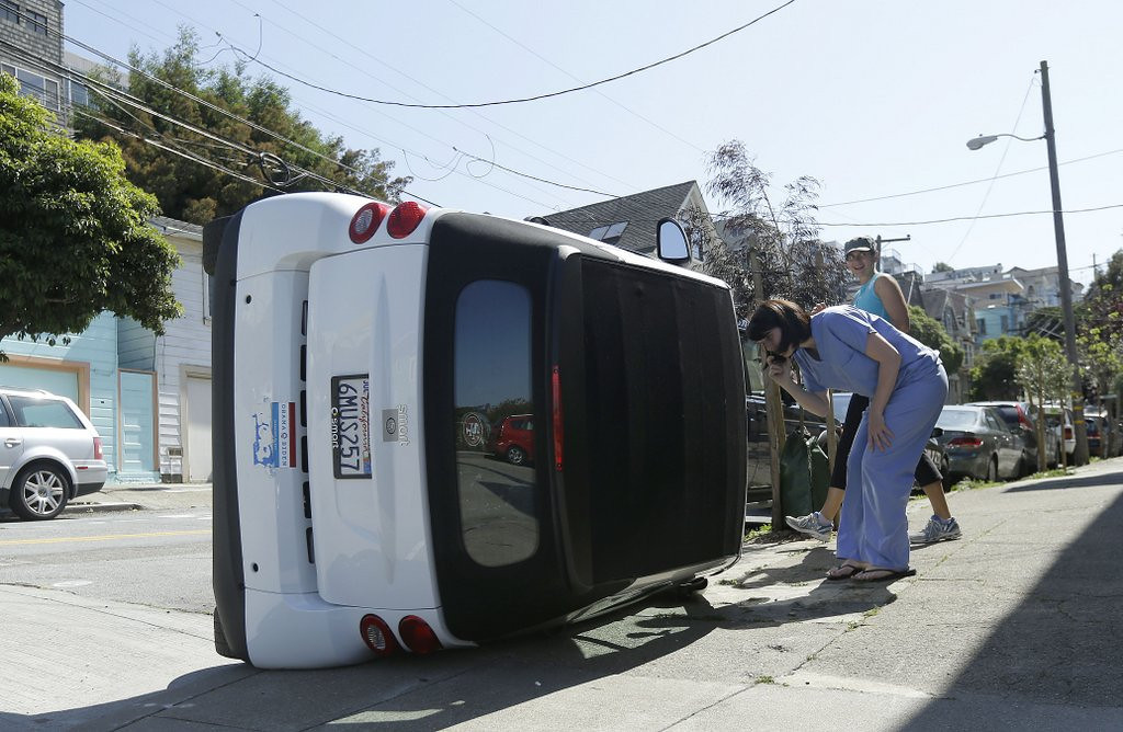""". <p><b> Some San Francisco residents were dismayed to see this week that their energy-efficient Smart cars had been flipped by � </b> <p> A. Vandals <p> B. Protesters <p> C. 12 mph winds <p><b><a href=\'http://www.nbcbayarea.com/news/local/Suspects-Flip-Over-Smart-Cars-in-San-Francisco-254177981.html\' target=\""""_blank\"""">HUH?</a></b> <p>   (AP Photo/Jeff Chiu)"""