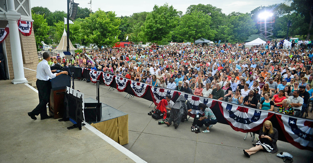 . President Barack Obama faced a capacity crowd at the Lake Harriet Bandshell as he delivered his remarks on the state of the local and national economy. (Pioneer Press: Ben Garvin)