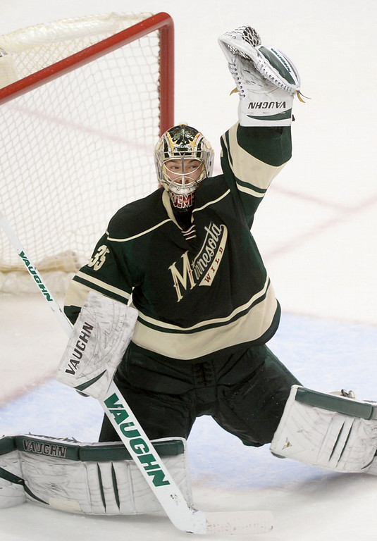 . Minnesota Wild goalie Darcy Kuemper makes a save during the first period.  (Pioneer Press: Sherri LaRose-Chiglo)
