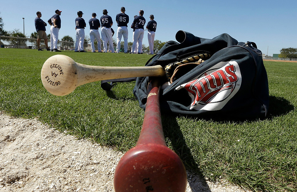 . Baseball bats protrude from a bag during a Minnesota Twins workout before an exhibition baseball game against the Boston Red Sox, Saturday, March 1, 2014, in Fort Myers, Fla. (AP Photo/Steven Senne)