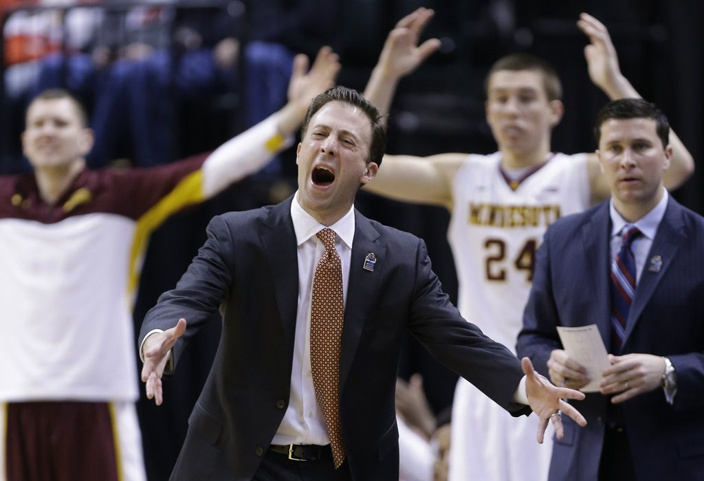 """. <p><b> Richard Pitino�s Minnesota Gophers, left out of the NCAA tournament because of inconsistent play, had to settle for playing in the � </b> <p> A. NIT <p> B. RIP <p> C. LOL <p><b><a href=\'http://www.twincities.com/sports/ci_25356312/gophers-miss-cut-ncaa-tournament\' target=\""""_blank\"""">HUH?</a></b> <p>    (AP Photo/Michael Conroy)"""